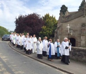 Claines Church Ordination procession along Claines Lane Worcester